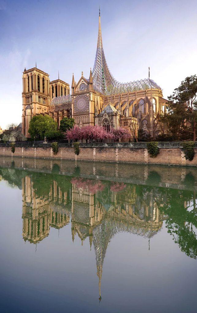 บูรณะ โบสถ์ Notre Dame  การออกแบบของ vincent callebaut ผสานกระจกกับงานหลังคา 2
