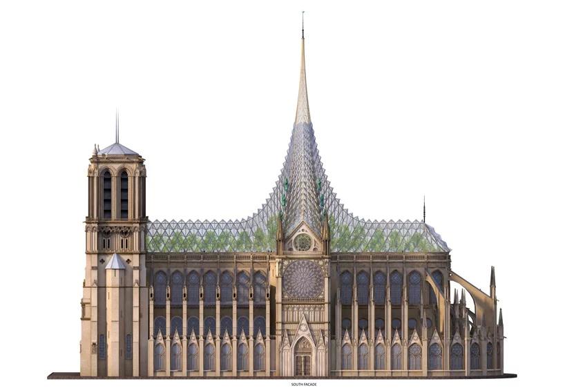 บูรณะ โบสถ์ Notre Dame  การออกแบบของ vincent callebaut ผสานกระจกกับงานหลังคา 3